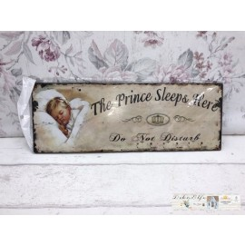 Blechschild The Prince sleeps Here Kinderzimmer Junge Vintage